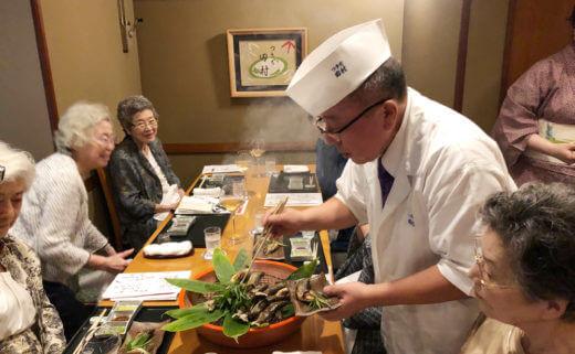 つきぢ田村で「鮎とワインの会」にてワインセレクションと解説を担当